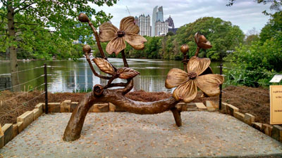 Dogwood Bench in Piedmont Park - Bronze Sculpture in Atlanta, GA