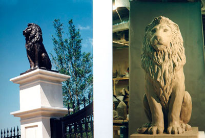 Lion Sculpture at Evander Holyfield Residence in Fairburn, GA